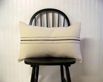 free shipping - grainsack pillow - black stripe - canvas - vintage style - farmhouse - lumbar - rustic - rustic pillow - grain sack