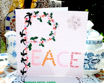 SALE Luxury hand made pink  peace  thank you card