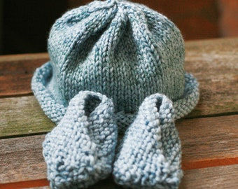 Knitted Baby hat and Bootie Set