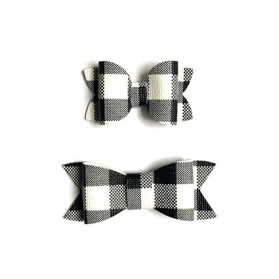 Faux Leather Gingham Bow