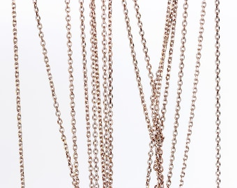 2077 Thin rose gold chain 1.1mm x 1.3mm Gold plated chain Rolo link chain Brass chain Jewelry findings Jewelry making anchor chain 1 m