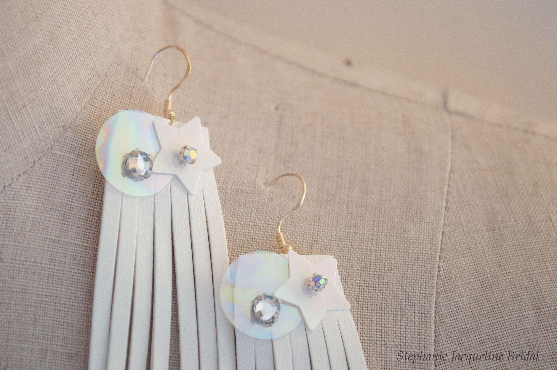 Hand Embellished Fringe Earrings / Star Sequin Tassel Earrings / Bridal Wedding Bridesmaid Earrings