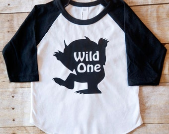 Where the wild things are, first birthday shirt, baseball tee, toddler tshirt, wild one, 1st birthday shirt, boys first birthday shirt