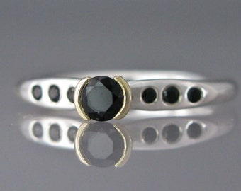 Black Diamond Engagement Ring - 14k Yellow Half Bezel and Hammered Sterling Silver Alternative Engagement Ring