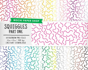 Rainbow Squiggles Digital Paper Download, Squiggle Pattern, Modern Digital Graphics, Scrapbook Cardmaking Paper, Abstract Design PNG Files