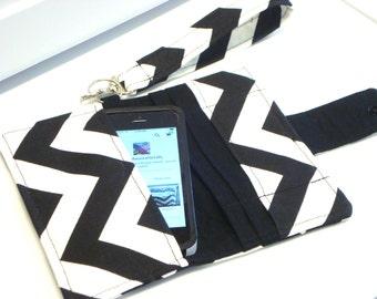 iPhone Card Wallet - Handytasche für Iphone 4 s, Iphone 5 und 6 mit abnehmbaren Griff - Chevron schwarz und Whitel