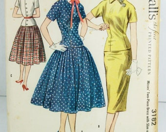 McCalls 3182 Vintage Sewing Pattern Two Piece Dress Slim Full Skirt FF 1955