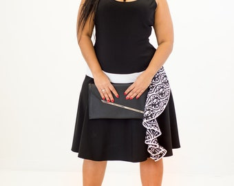 Black dress with black and white pattern detail