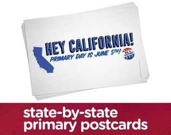 Custom state-by-state primary date postcards