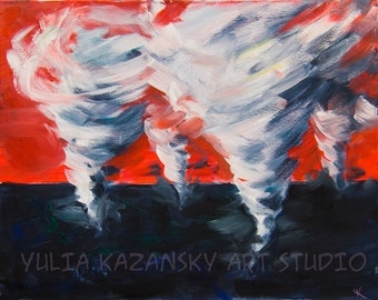 Apocalyptic Dream surreal giclee art print of original acrylic painting Surreal dream landscape Tornado art print Stretched Canvas art print