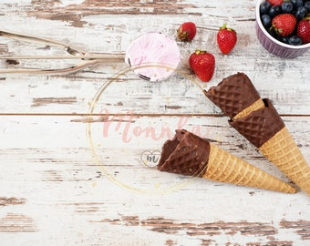 Styled Stock Photo. Food Blog Photography. Pink Ice Cream served with berries - strawberries and blueberries. Digital file