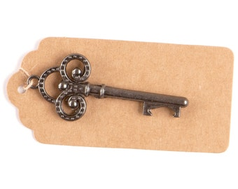 50 Key Bottle Openers with Tags & Twine, Charcoal Vintage Skeleton Keys, Wedding Decorations, Party Favors, Metallic Gray Trinity Keys