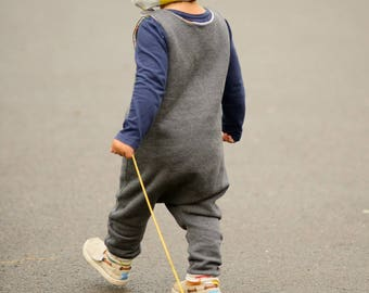 Organic Brushed Cotton Fleece Romper Overalls Dungarees made in the UK