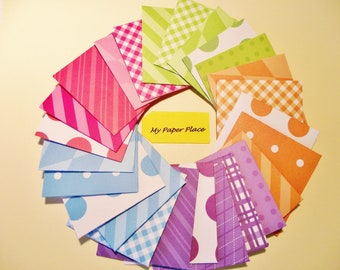 Tiny Mini Envelopes (25) Note Cards, Thank you Cards & Envelopes Bright Patterns Toothy Fairy Envelopes