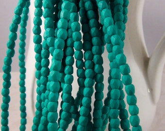 NEON EMERALD 3mm Neon Emerald Czech Glass Faceted Rounds - Saturated Green Beads, Kelly Green Beads, Matte Emerald Beads - Qty 50 (3-068)