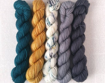 CINEMA - Bite-Size Mini Set of 5 - Hand Dyed Yarn – Fingering Superwash Tonal Yarn