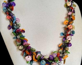 Rainbow Bright Necklace - Black Wire SRAJD - Multi colors Red Black Yellow Orange Green Purple