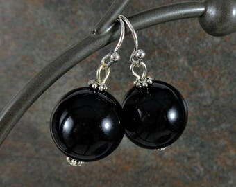 Gumball Earrings, Round Bead Earrings, Black, Chunky Earrings, Bead Earrings, Drop Earrings, Silver, Black Earrings, Ball Earrings