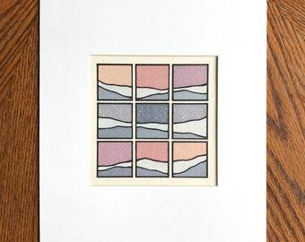 Sunset Squares III, Muted Tones, (square)