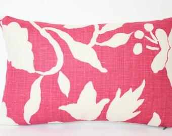 Fuschia Revese Floral Lumbar Pillow Cover