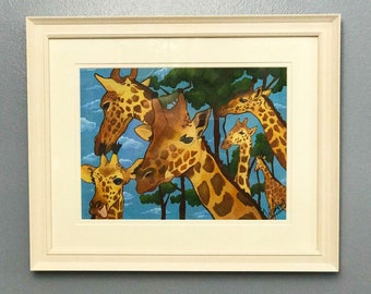 PAINTING FOR SALE Giraffe acrylic painting on board framed painting