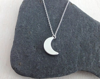 Dainty Necklace, Silver Moon, Delicate Fine Chain, Silver Crescent Moon Necklace