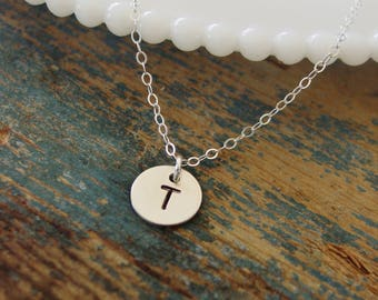 Tiny Initial Necklace,Sterling Silver Necklace, Personalized Jewelry, Hand Stamped,Tiny Disc Necklace,Everyday Jewelry,Mom Necklace,Mom Gift