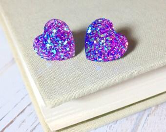Purple Heart Earrings, Valentine's Earrings, Faux Purple Druzy Heart Studs, Sparkly Earrings, Flower Girl Earrings, KreatedByKelly (SE1)