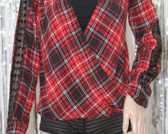 Plaid Striped Red Lumber Jack  90's Top (XS)