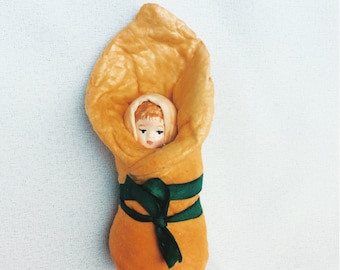 Toddler handmade. Vintage Inspired Spun Cotton. Spun cotton toy.  Spun cotton ornaments. Doll miniature. Christmas toy. Vintage style. Retro