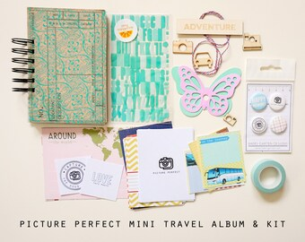 Travel Mini Album / Journal Picture Perfect and Scrapbook Kit