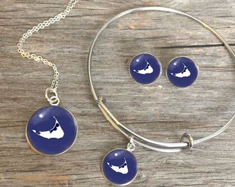 NANTUCKET (Or Any Location) JEWELRY, Location Jewelry, State Jewelry, State Necklace, State Bracelet, State Earrings, State Keychain, Custom