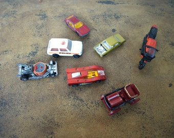 Lot of Seven Vintage Collectible Die Cast Cars - some are matchbox