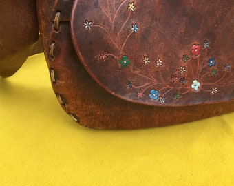 Hand tooled, painted and stamped Vintage Bag