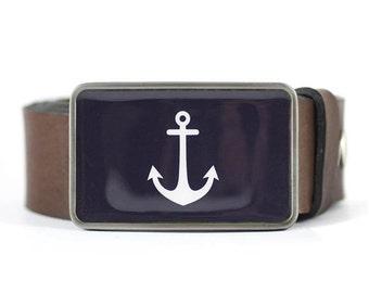 Anchor Belt Buckle, Nautical Belt Buckle, Navy Blue Belt Buckle, Sailor belt buckle, gift for him, men's gift idea