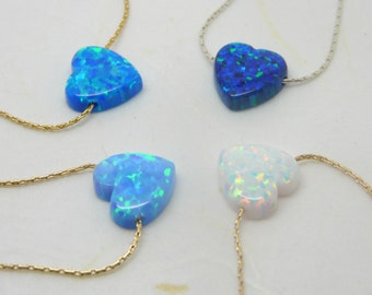 Valentines day gift, Heart necklace, Opal Heart necklace,  Goldfilled necklace, Opal jewelry, Love necklace, Everyday necklace