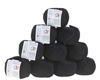 10 x 50g knitted yarn Dainty cotton, #01 Black