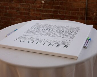 Mr and Mrs. Wedding Sign Reception Guest Book Signature Art Canvas decor  CUSTOM wall decor 47x47