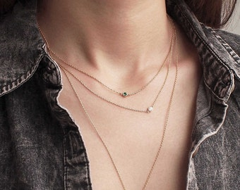 20% OFF Dual Birthstone Necklace, Dainty Minimal CZ Necklace, Simple Layering Necklace in Sterling Silver #D55
