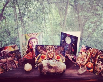 Pack of five greeting cards with envelopes visionary art