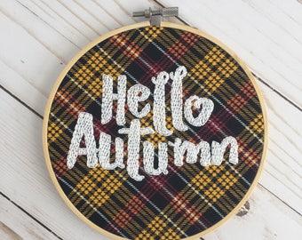 Hello Autumn Embroidery Hoop - Autumn Decor - Fall Wall Art