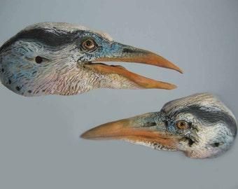 Custom Heron Anthro Art Doll Bust