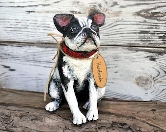 Handmade paper mache French Bulldog / Dog / Animal Sculpture / Recycled Decor