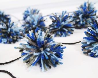 FREE SHIPPING Blue/Gray/Black Yarn Pom Pom Garland