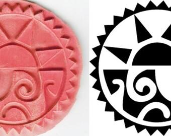 Azteken Sonne-Design-Stempel-Werkzeug für PMC - Keramik-Ton - Fimo - Textilien - ScrapBooking - Papier - Ätzen - Azteken Sonne-Design-Stempel-Werkzeug