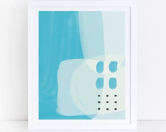 Blue Abstract Art, Watercolor Print, Abstract Print, Blue Abstract Wall Art, Blue Nursery Wall Art, Kids Room Art, Abstract Nursery Art