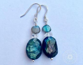 Dazzling Spectrolite & Labradorite Drop Earrings