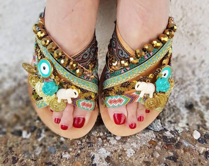 DHL FREE/Greek sandals/strappy sandals/gladiator sandals /luxury sandals/women shoes/bridal/wedding/boho sandals/Greek evil eye/ethnic