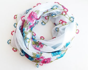 Pink and blue floral scarf - Boho scarf Turkish scarf Floral shawl Spring scarf Square scarf White floral scarf Gift for mother Shawl