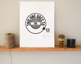 Boyfriend gift, Husband, Music Wall Art Print, Spinal Tap, Quote Print, Linocut Print, This One Goes to 11, movie quote print